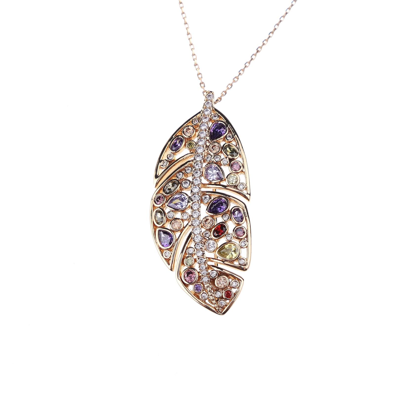 Колье/ожерелье бижутерное Fiore Luna 15A13NK022AV02 BR, Гипоаллергенный сплав, Муранское стекло, 40 см, бежевый, белый, желтый, красный, фиолетовый
