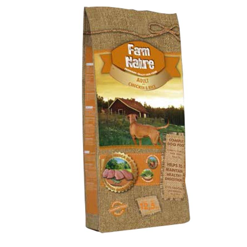 Корм сухой FARM NATURE Сухой корм с курицей и рисом для взрослых собак