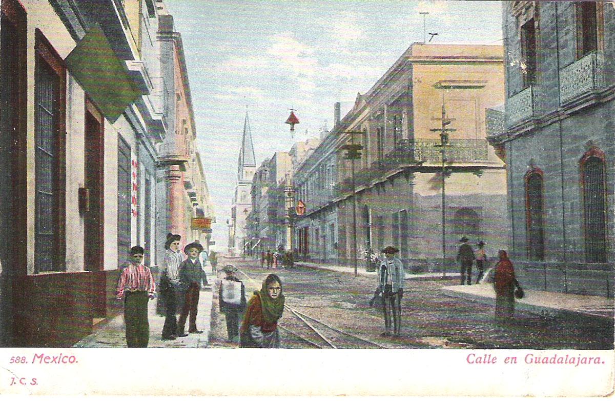 Почтовая открытка Calle en Guadalajara. #588. Мексика, начало ХХ века почтовая открытка palacio nacional 15 мексика начало хх века