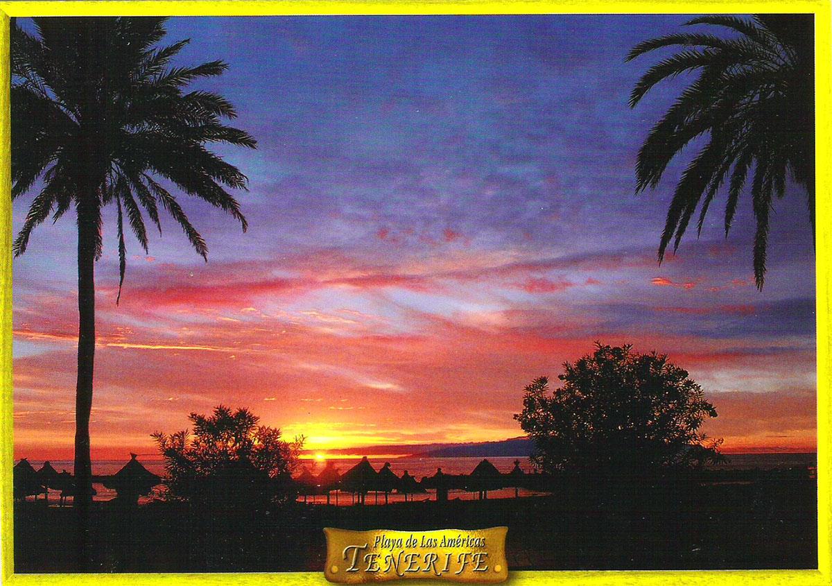 Фото - Почтовая открытка Tenerife. Anochecer en Playa de Las Americas y La Gomera. Испания, конец ХХ века почтовая открытка tenerife garachico испания конец хх века