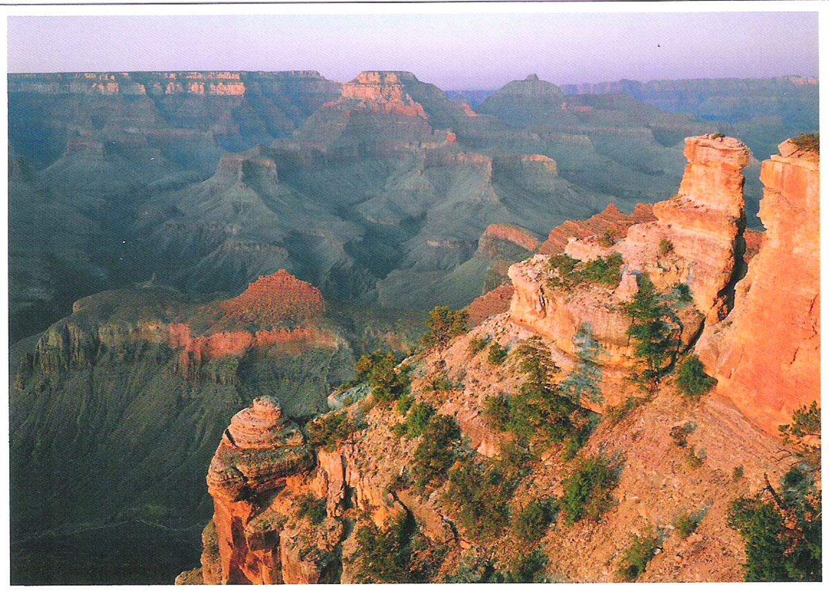 Почтовая открытка Sunset Casts Its Evening Glow on The Canyon Walls. США, конец ХХ века sunset glow sea bridge wall tapestry