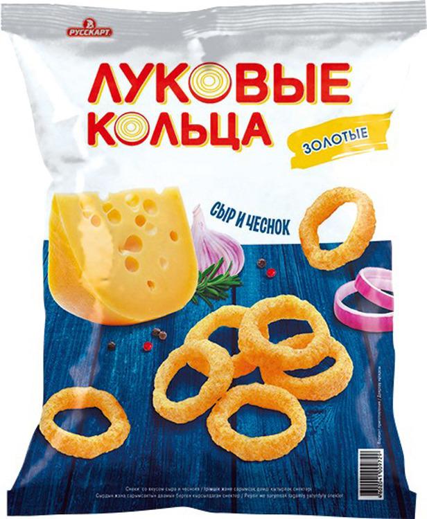 Снэк Луковые кольца Золотые, сыр и чеснок, 40 г