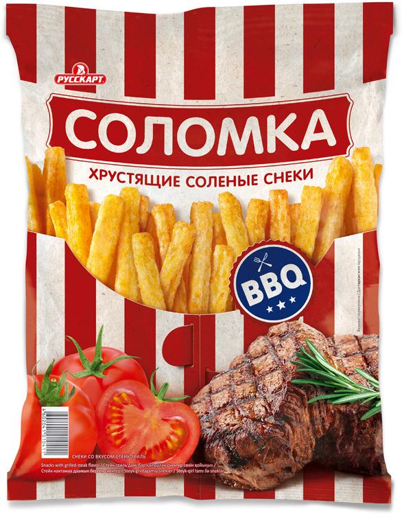 Соломка хрустящая, со вкусом стейка гриль, 50 г grizzon соломка картофельная со вкусом сыра 80 г