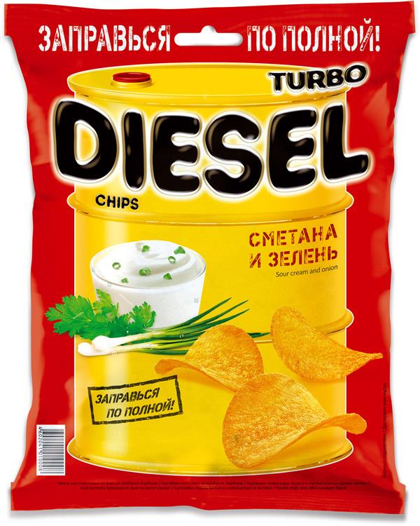 Чипсы картофельные Turbo Diesel, сметана и лук, 75 г чипсы bruto тапас сметана лук 75