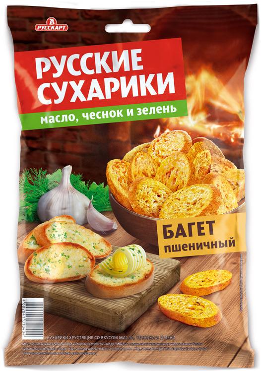 Сухарики ржаные Русские сухарики, масло и чеснок, 50 г ого сухарики ванильные 250 г