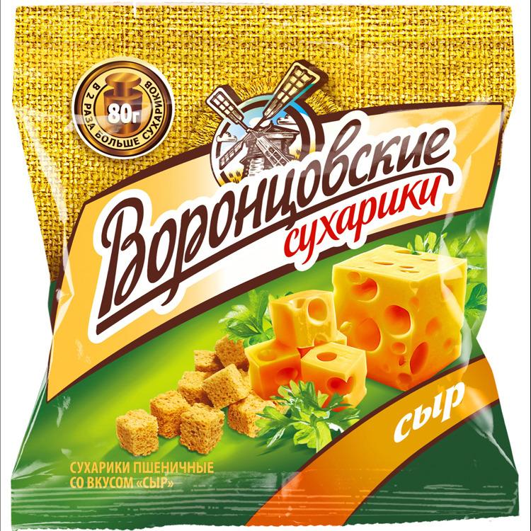 Сухарики Воронцовские, сыр, 80 г grizzon соломка картофельная со вкусом сыра 80 г