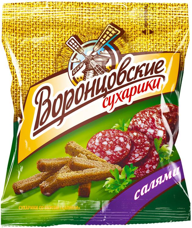 Сухарики Воронцовские, салями оригинальная, 40 г ого сухарики ванильные 250 г