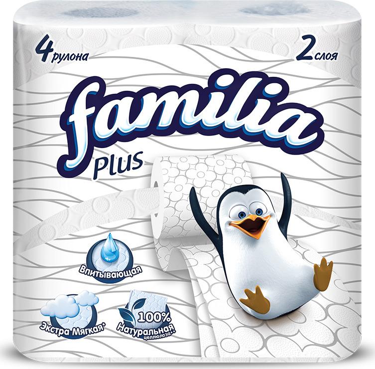 Туалетная бумага Familia Plus, двухслойная, цвет: белый, 4 рулона туалетная бумага familia plus магический цветок двухслойная цвет белый 4 шт
