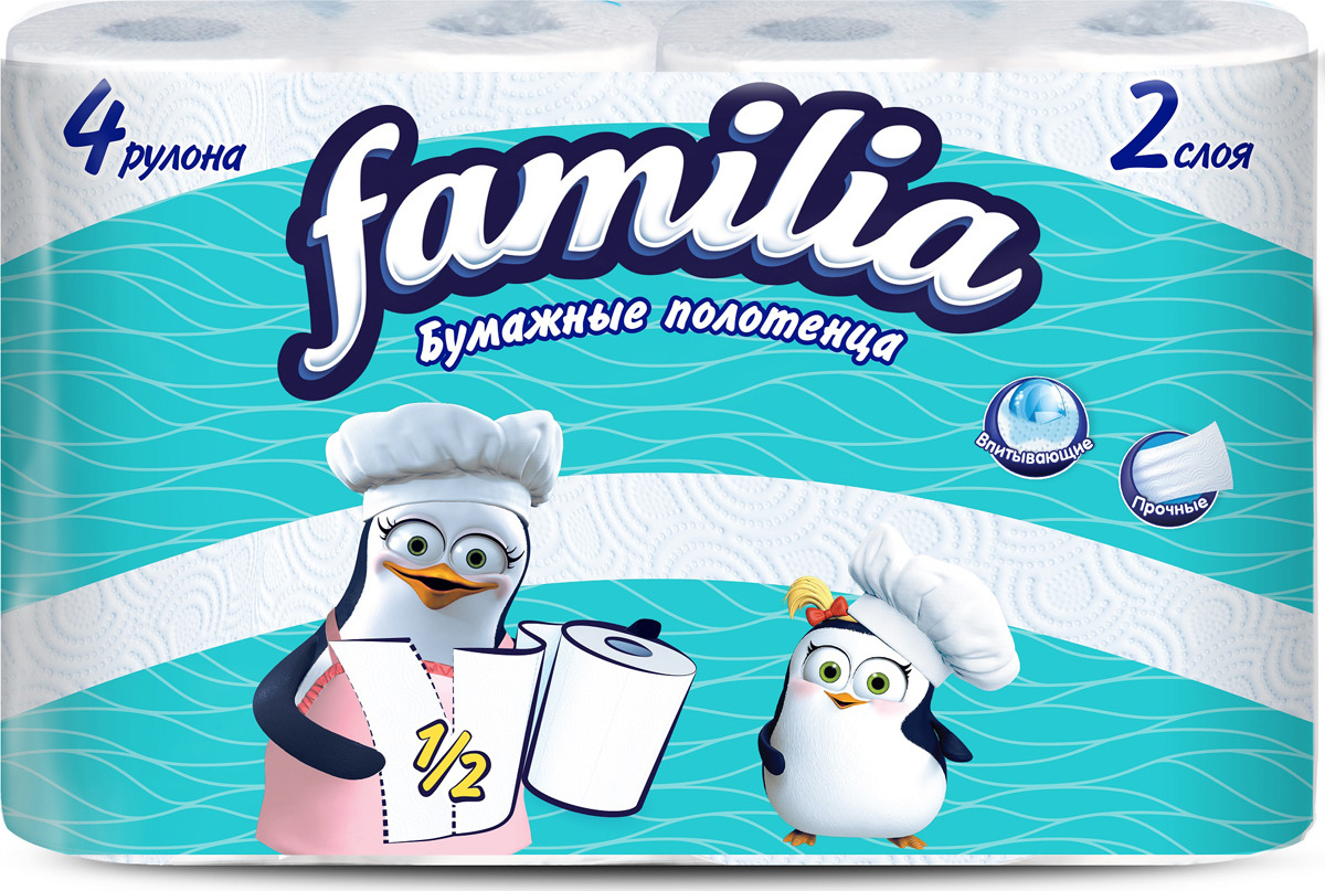 Полотенца бумажные Familia, двухслойные, цвет: белый, 4 рулона полотенца бумажные мягкий знак двухслойные цвет белый 4 рулона