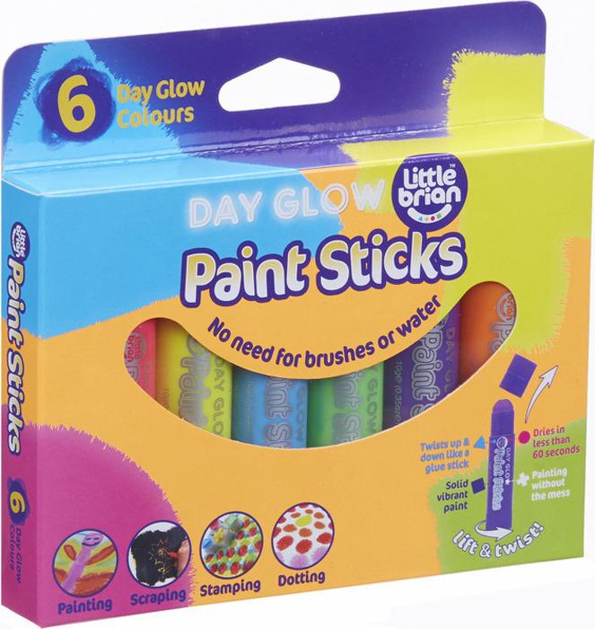 Краски в стиках Little Brian, неоновые, LBPS10DA6, 6 цветов краски в стиках little brian lbps10da6