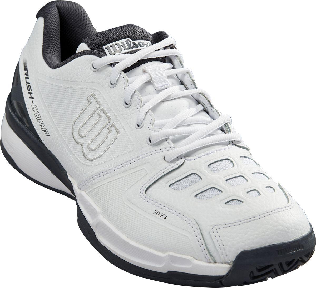 Кроссовки для тенниса мужские Wilson Rush Comp Ebony, цвет: белый. WRS324580. Размер 8,5 (41)WRS324580Удобные и комфортные кроссовки Wilson Rush Comp LTR для теннисных матчей и тренировок. LTR обозначает Leather - соответсвенно в производстве данной модели используется натуральная кожа, что является несомненным приемуществом. А для многих поклонников классической теннисной обуви произведенной из кожи - ответом на многие запросы. Эта унисекс модель является универсальной и подходит для игры на кортах с любым покрытием.