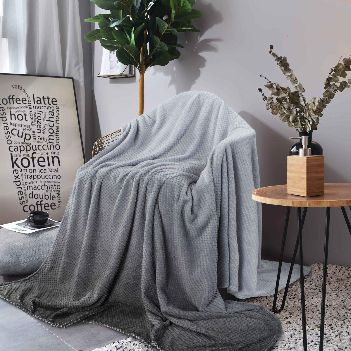 Покрывало Guten Morgen, ПК-Ж-С-180-200, серый, 180 х 200 см