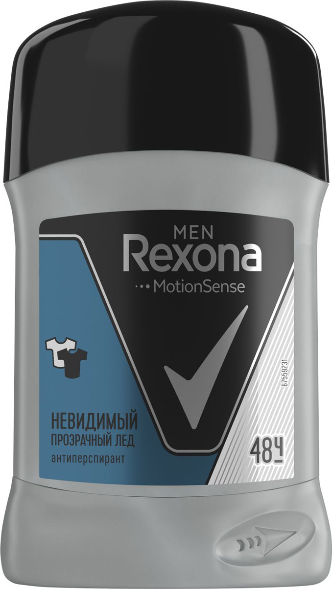 Антиперспирант-карандаш Rexona Men Невидимый Прозрачный лед, 50 мл rexona men motionsense антиперспирант аэрозоль прозрачный лед 150 мл