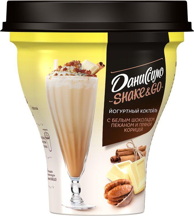 Йогурт питьевой Даниссимо Shake&Go, с белым шоколадом, пеканом и пряной корицей, 5,2%, 260 г молочный коктейль даниссимо со вкусом мороженого крем брюле 2 5% 215 г