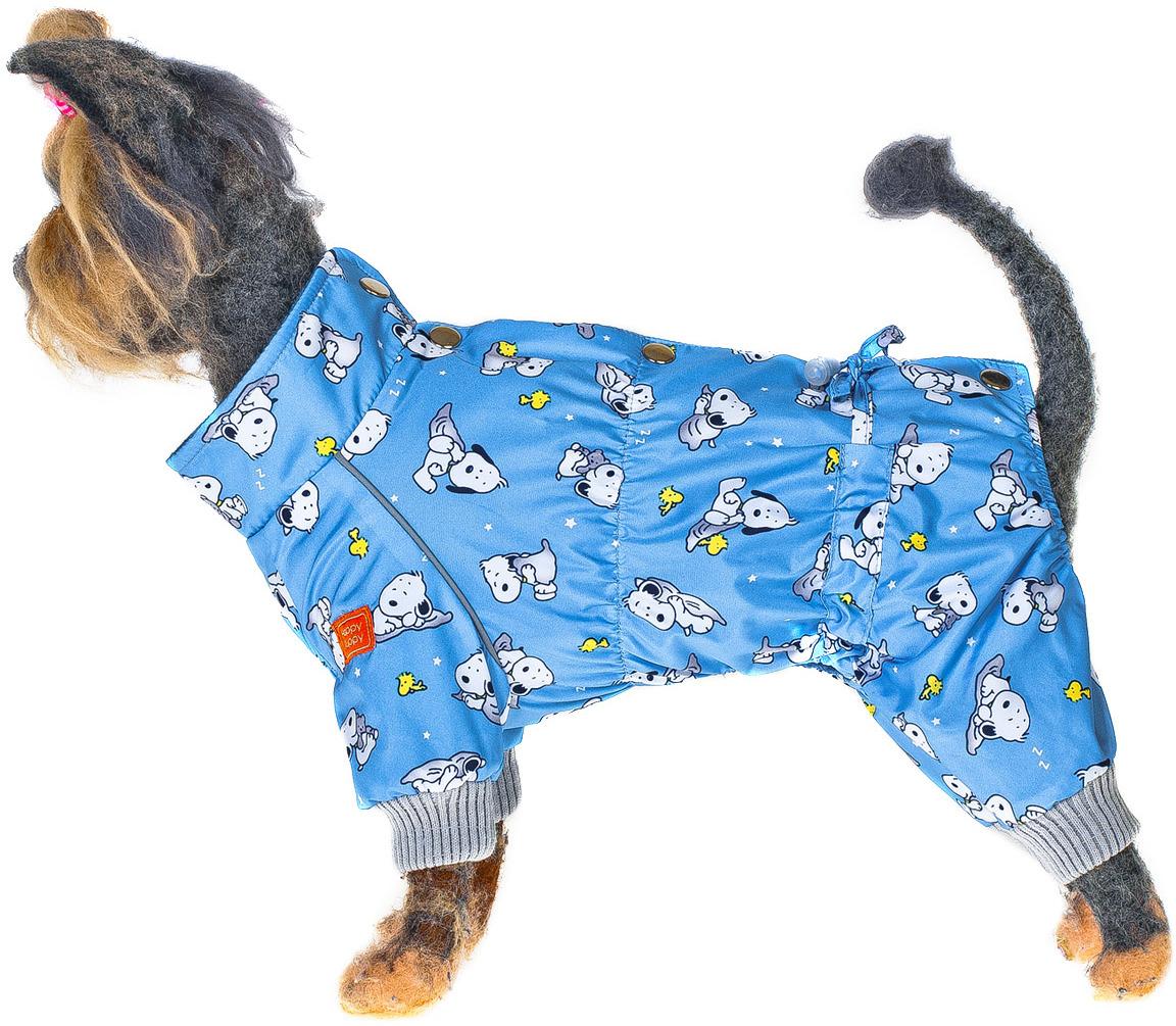 Комбинезон для собак Happy Puppy Снупик, для мальчика, для девочки, НР-180140-3, синий. Размер 3НР-180140-3«Happy Puppy» - это множество самых разнообразных по стилю, дизайну и крою моделей для прогулок, тренировок, праздников. Это наряды для дома и на выход, на любую породу, весовую категорию и предпочтения. А так же это удобные спальные и стильные сумки-переноки. Комбинезон: Обхват шеи 29; Обхват груди 45; Длина спины 28