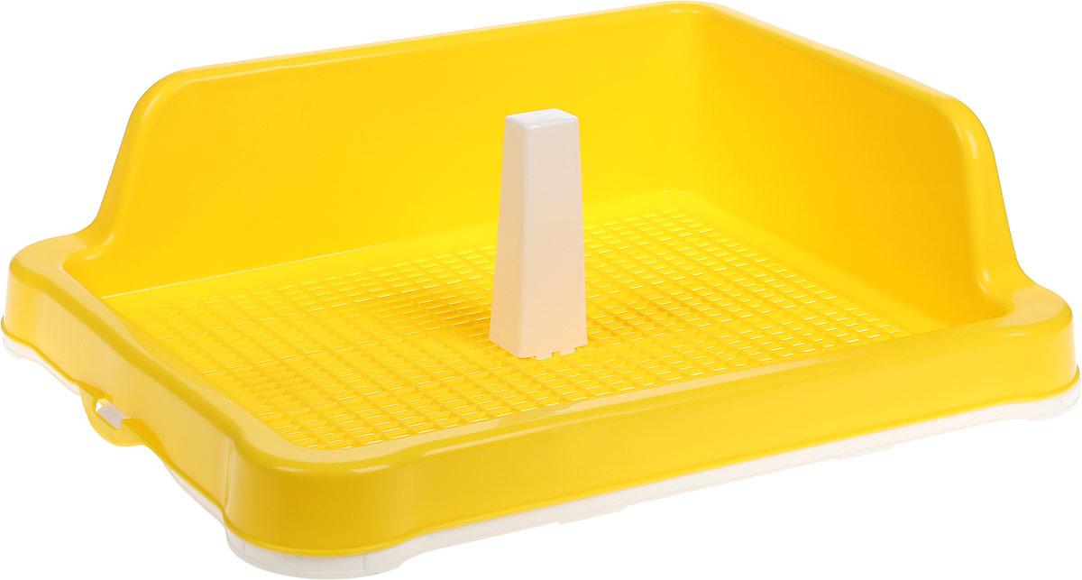 Туалет для собак №1, со столбиком, с угловым бортом, цвет: желтый, белый, 57 х 43,5 х 16 см чехол для стирки бюстгальтеров ruges галант цвет белый 18 х 16 х 16 см