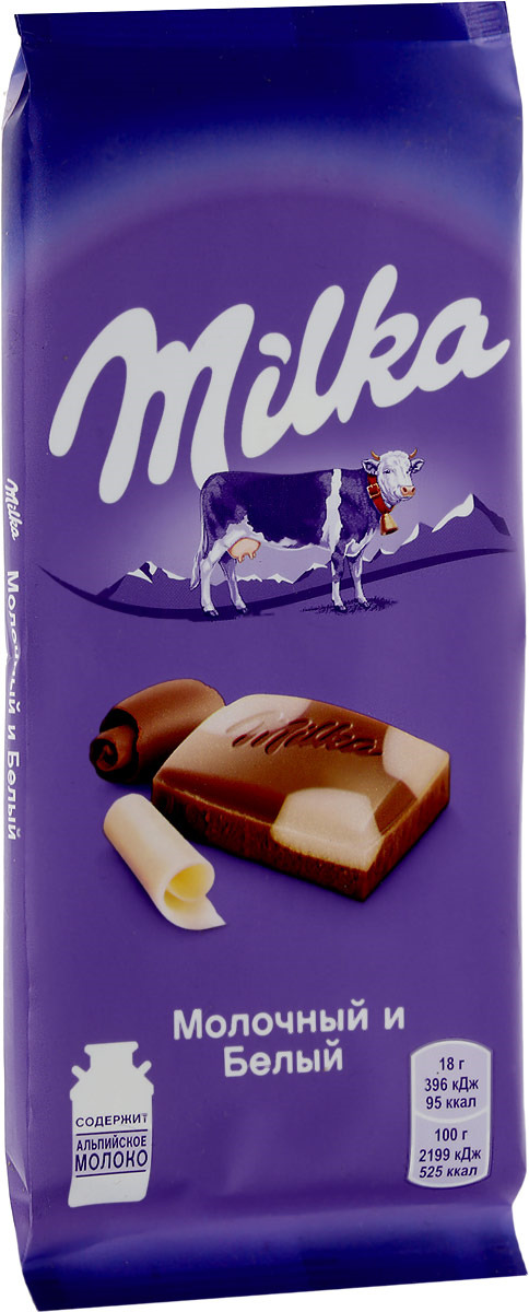 Milka шоколад молочный с белым шоколадом, 90 г milka