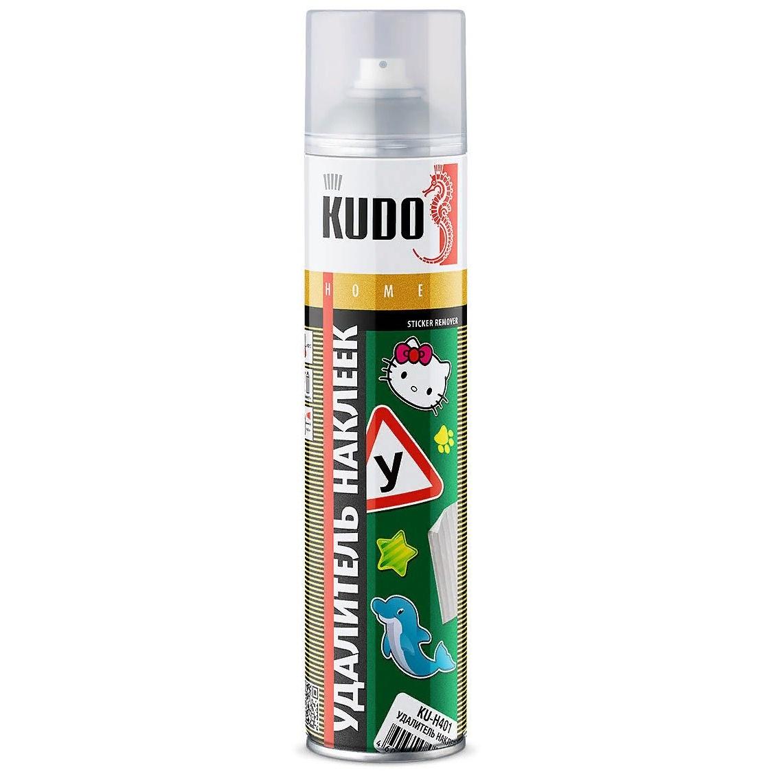 Очиститель кузова KUDO удалитель этикеток и наклеек, аэрозоль, 400мл очиститель аэрозоль двигателя felix 400мл