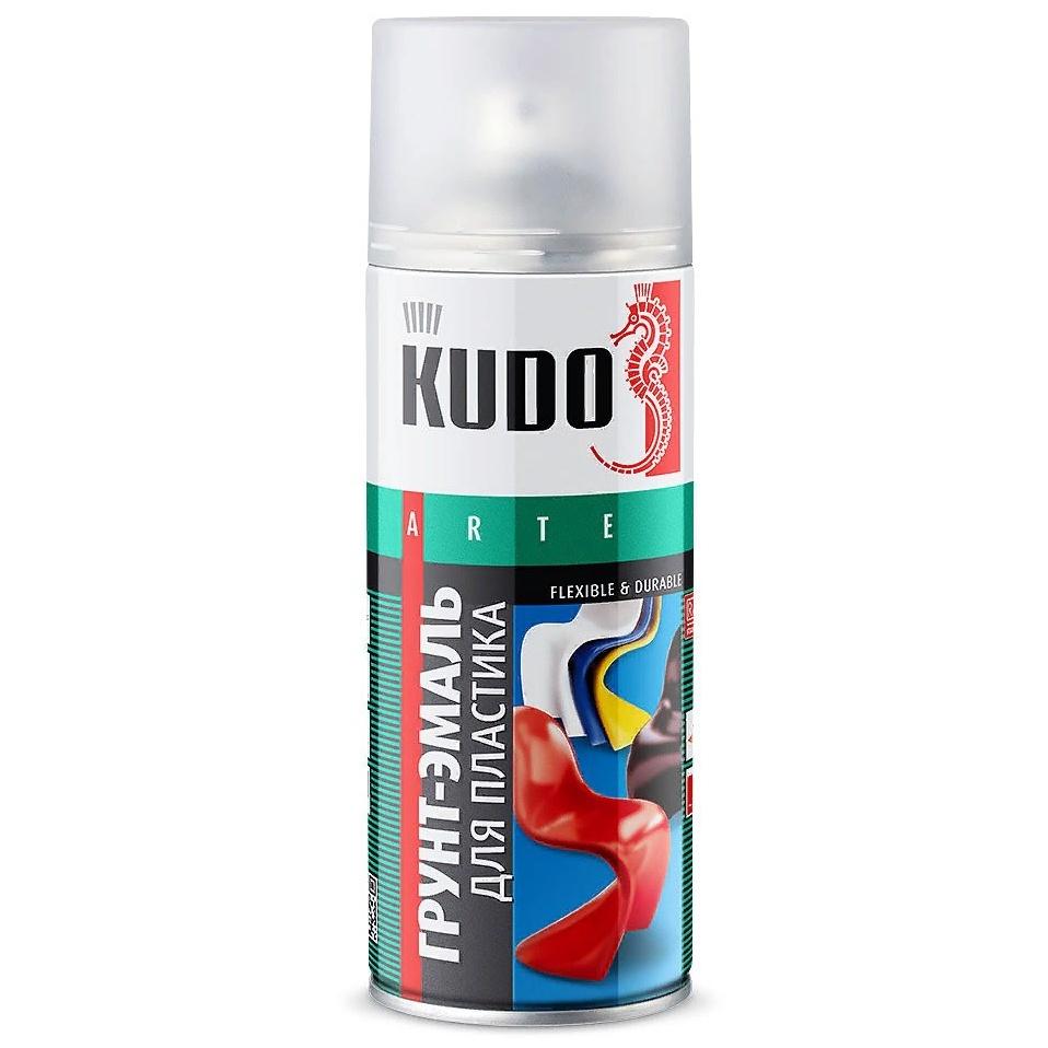 цена на Аэрозольная краска KUDO грунт-эмаль для пластика,, 520мл, серебристый