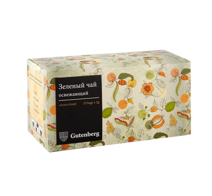 Чай в пакетиках Gutenberg Зелёный освежающий, Зеленый чай, Мята все цены