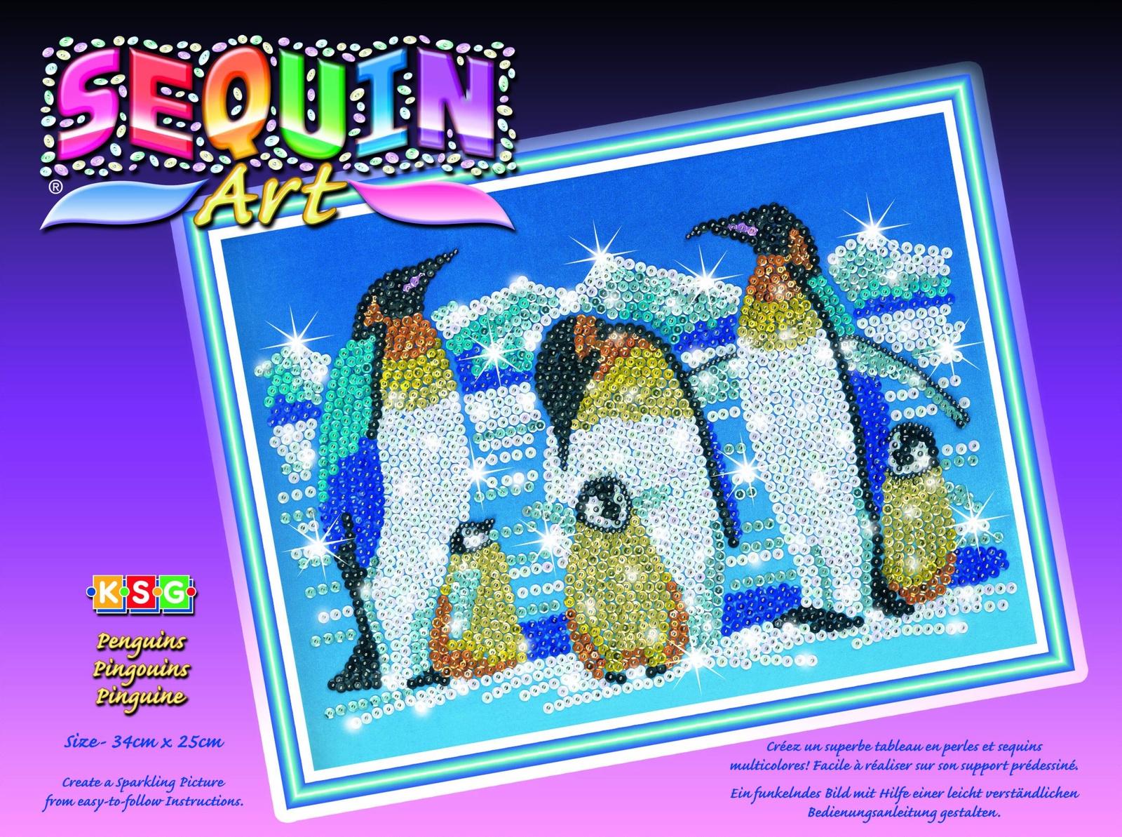 """Картина из пайеток Sequin Art /KSG Пингвины, 06170617Мозаика из бусинок """"Пингвины"""". Сделайте сияющую картинку из бусин на бархате, просто накалывая их по контуру рисунка при помощи булавок. В набор входят: основа из пенопласта, бархат, булавки, бусинки и схема."""