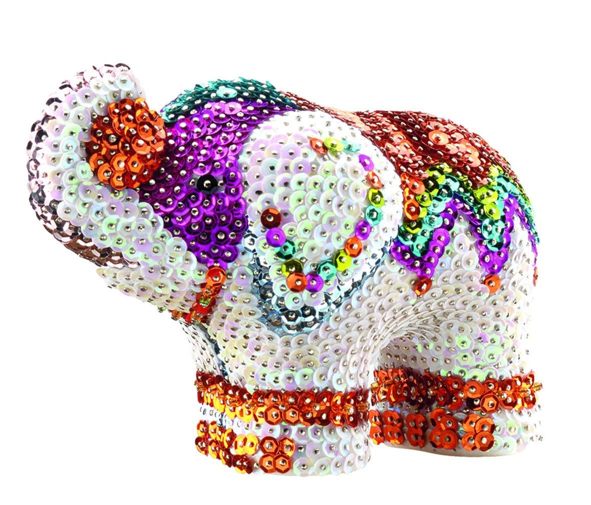 """Мозаика Sequin Art /KSG Объемная фигурка Слон1121Объемная фигурка с блестками """"Слон"""". Сделайте сияющую фигурку из блесток, просто накалывая их по контуру рисунка при помощи булавок. В набор входит: фигурка из пенопласта, пайетки, булавки."""