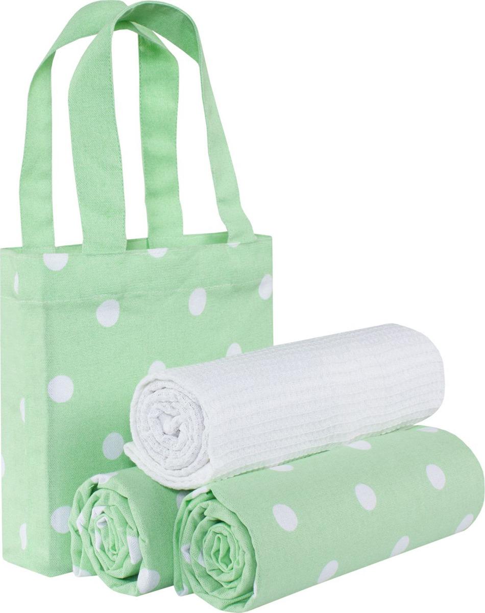 Набор кухонных полотенец Guten Morgen, НпсГз-45-70-3, светло-зеленый, в сумке, 3 шт