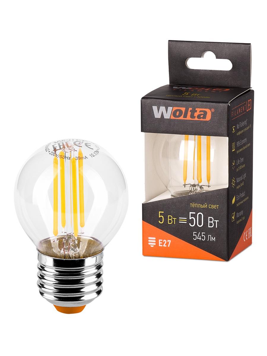 Лампочка Wolta 25Y45GLFT5E27, 5W, E27, Теплый, Теплый свет 5 Вт, Светодиодная цена