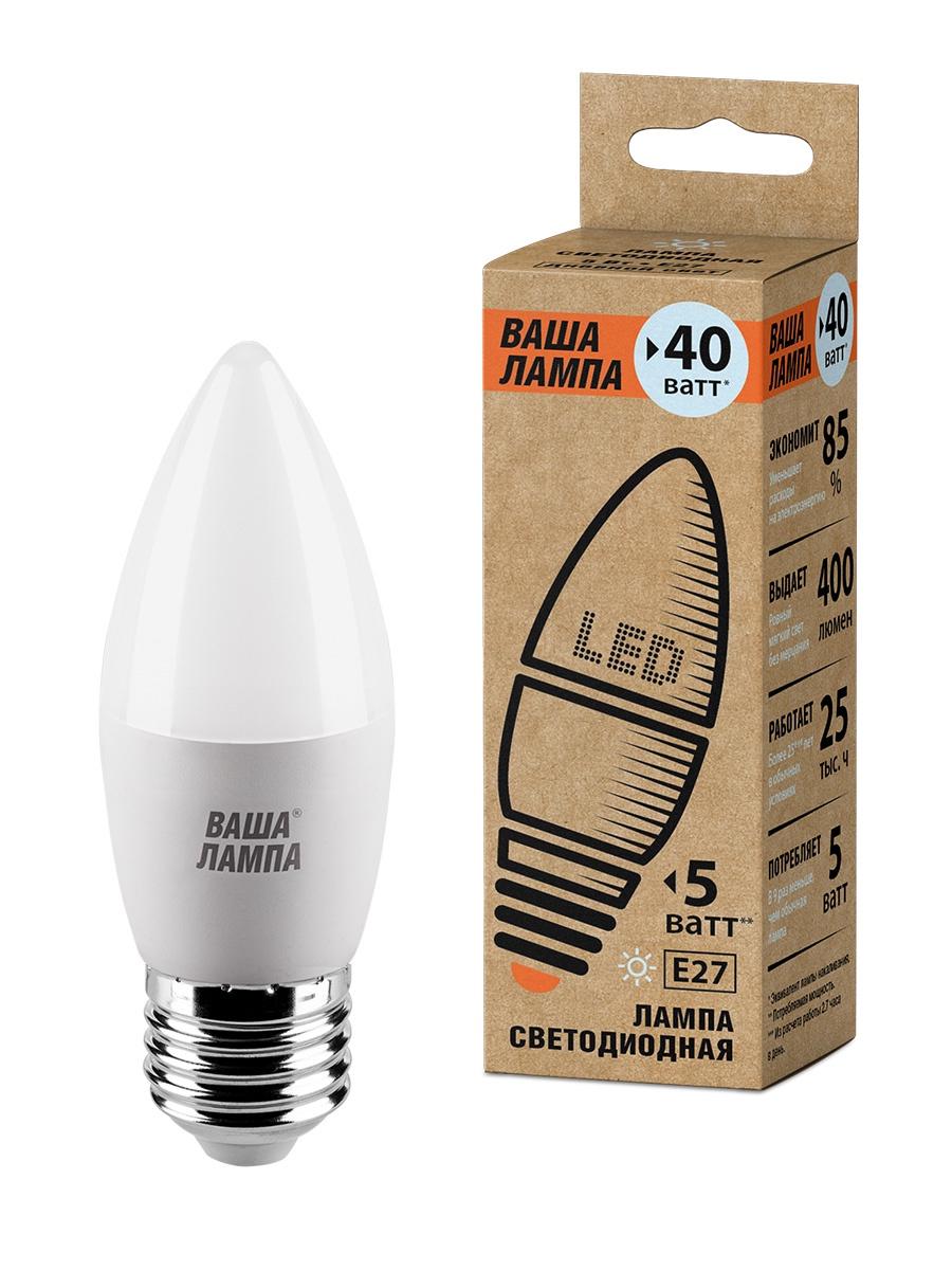 Фото - Лампочка ВАША ЛАМПА 25SC5E27-P, 5W, E27, Дневной, Дневной свет 5 Вт, Светодиодная лампа светодиодная led e27 8 5вт 220v 2700к rev