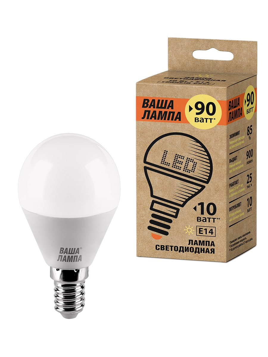 все цены на Лампочка ВАША ЛАМПА 25Y45GL10E14-P, 10W, E14, Теплый, Теплый свет 10 Вт, Светодиодная онлайн