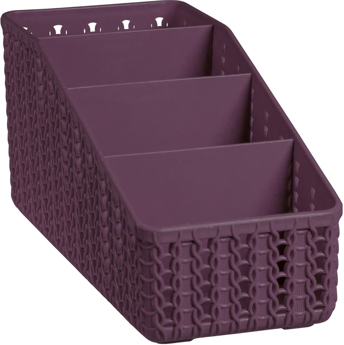 Органайзер Idea Вязание, 4 секции, М 2382, 20 х 9,5 х 10 см, пурпурный органайзер для специй idea цвет белый 6 х 16 х 16 см