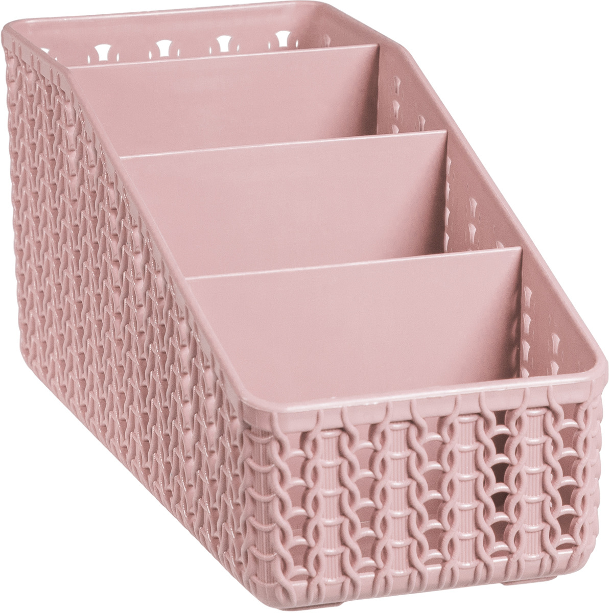 Органайзер Idea Вязание, 4 секции, М 2382, 20 х 9,5 х 10 см, чайная роза органайзер для специй idea цвет белый 6 х 16 х 16 см