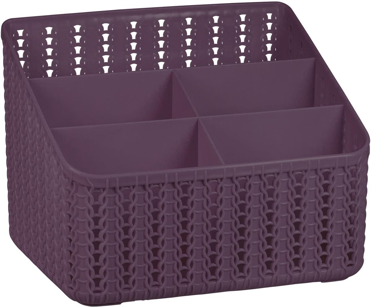 Органайзер Idea Вязание, 5 секций, М 2383, 14 х 18,5 х 14 см, пурпурный органайзер кухонный idea цвет салатовый 19 х 25 х 14 5 см