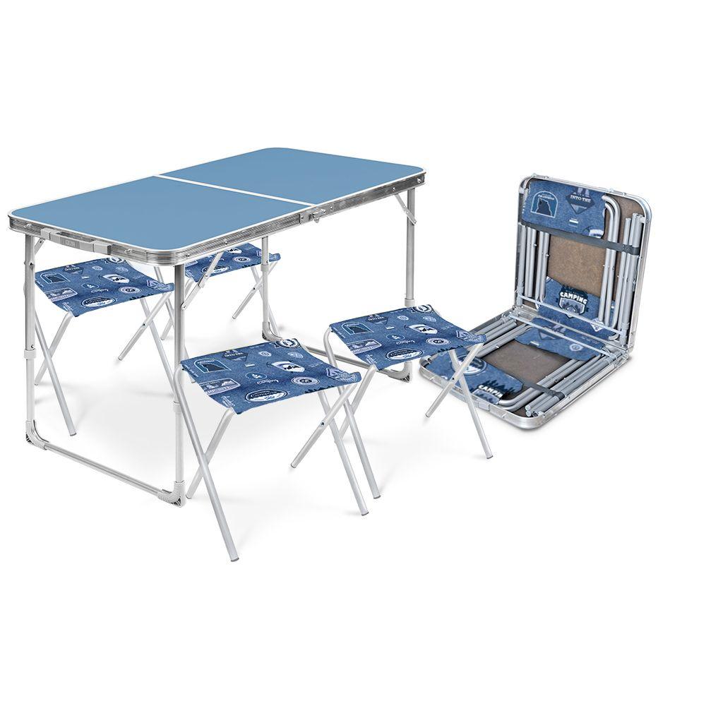 Набор складной мебели Ника ССТ-К2, ССТ-К2 голубой, голубойССТ-К2 голубойНабор: стол складной + 4 стула дачных складных СТОЛ: • каркас – металлическая труба, • Материал-водостойкий пластик, • Профиль-алюминий, • Возможно два положения высоты стола: 445 и 610мм, • Размер столешницы в развернутом виде – 1000х500мм, • допустимая нагрузка 20кг, • цвет каркаса – серый, • цвет столешницы – в ассортименте, • размер изделия в сложенном виде (ДхШхВ) 530х525х70мм, СТУЛЬЯ: • каркас – металлическая труба D-18мм, •материал сиденье-РИП-СТОП 600Д • Размер сиденья 300х300мм, • Высота до сиденья 313±3мм, • Допустимая нагрузка 90кг, • Общий вес комплекта 8 кг, • в упаковке-1шт.