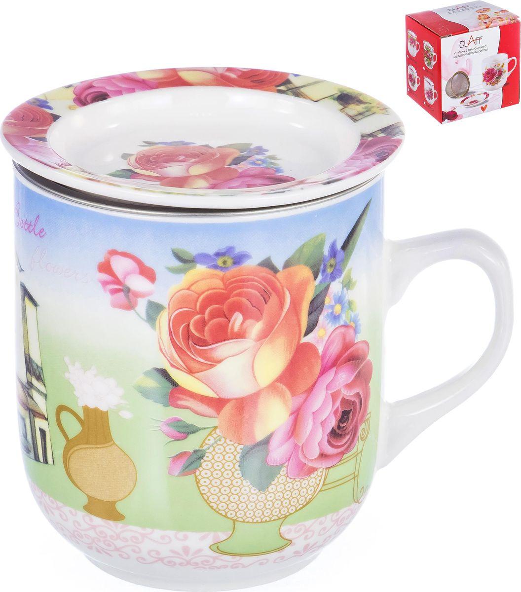 Фото - Кружка заварочная Olaff Флора Ваза с цветами, с ситечком, 124-01126, 350 мл кружка olaff 133 08050 350 мл
