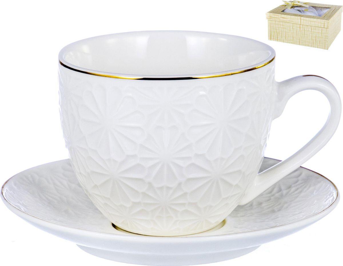 Чайная пара Balsford Грация, 101-01010, 2 предмета101-01010Грация, набор чайный (2 предмета) чашка 220 мл + блюдце, New Bone China, декор БЕЛЫЙ С ЗОЛОТОМ, квадратная подарочная упаковка с окном и бантом