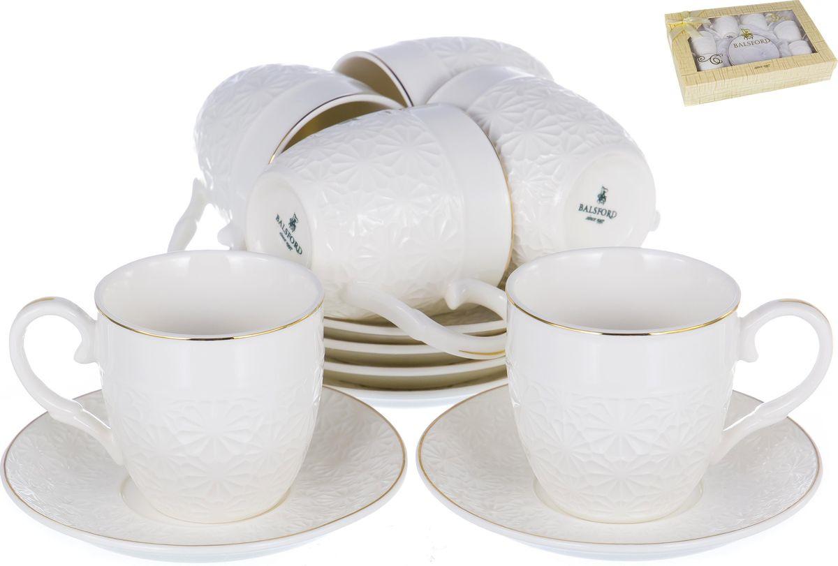 Набор кофейный Balsford Грация, цвет: белый, золотой, 12 предметов. 101-01008 кофейный набор кофе segafredo с кофейной парой чашек