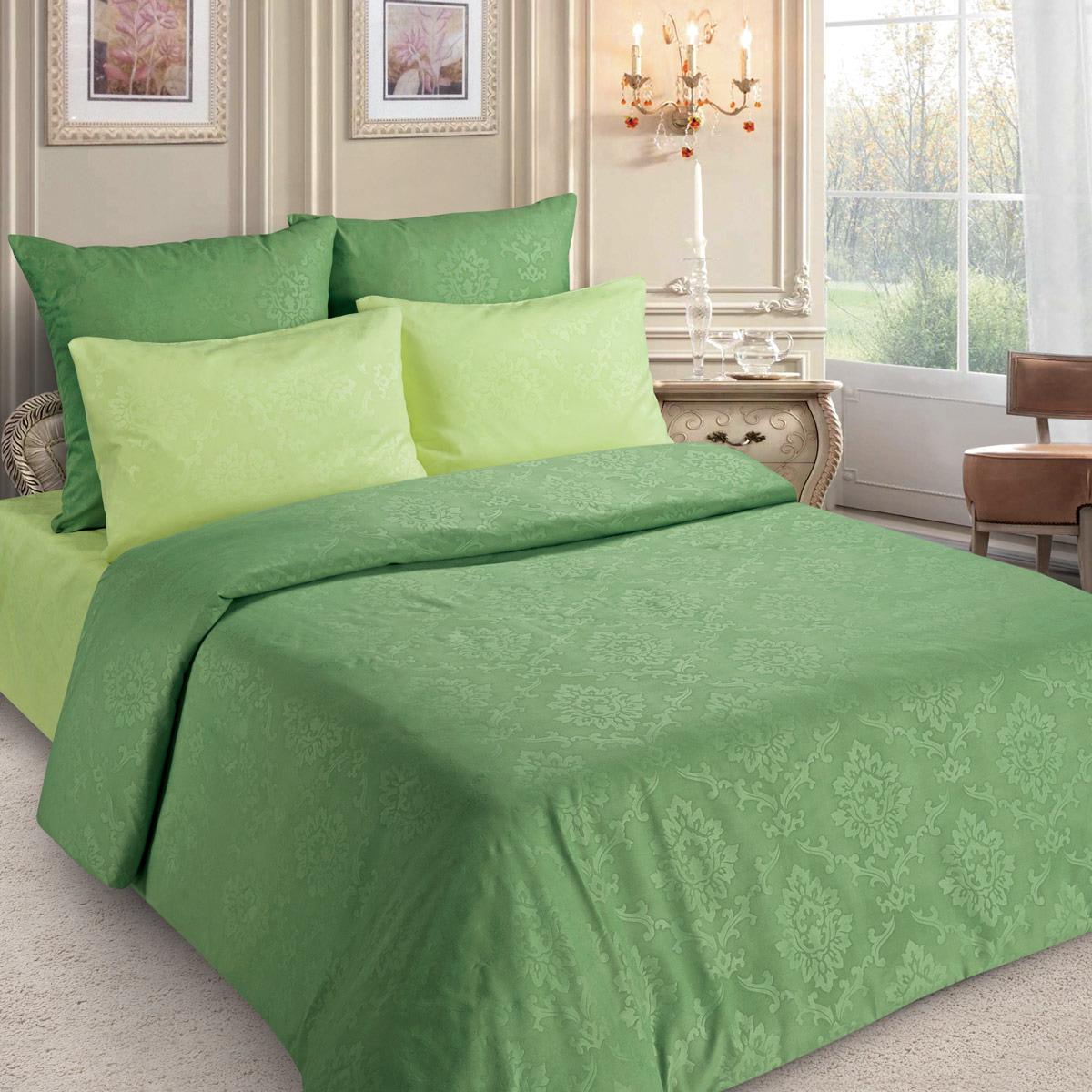 Комплект постельного белья Letto, PS133-3, зеленый, 1,5 спальный, наволочки 70x70