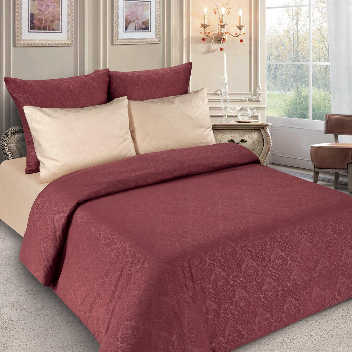 Комплект постельного белья Letto, PS134-3, красный, 1,5 спальный, наволочки 70x70