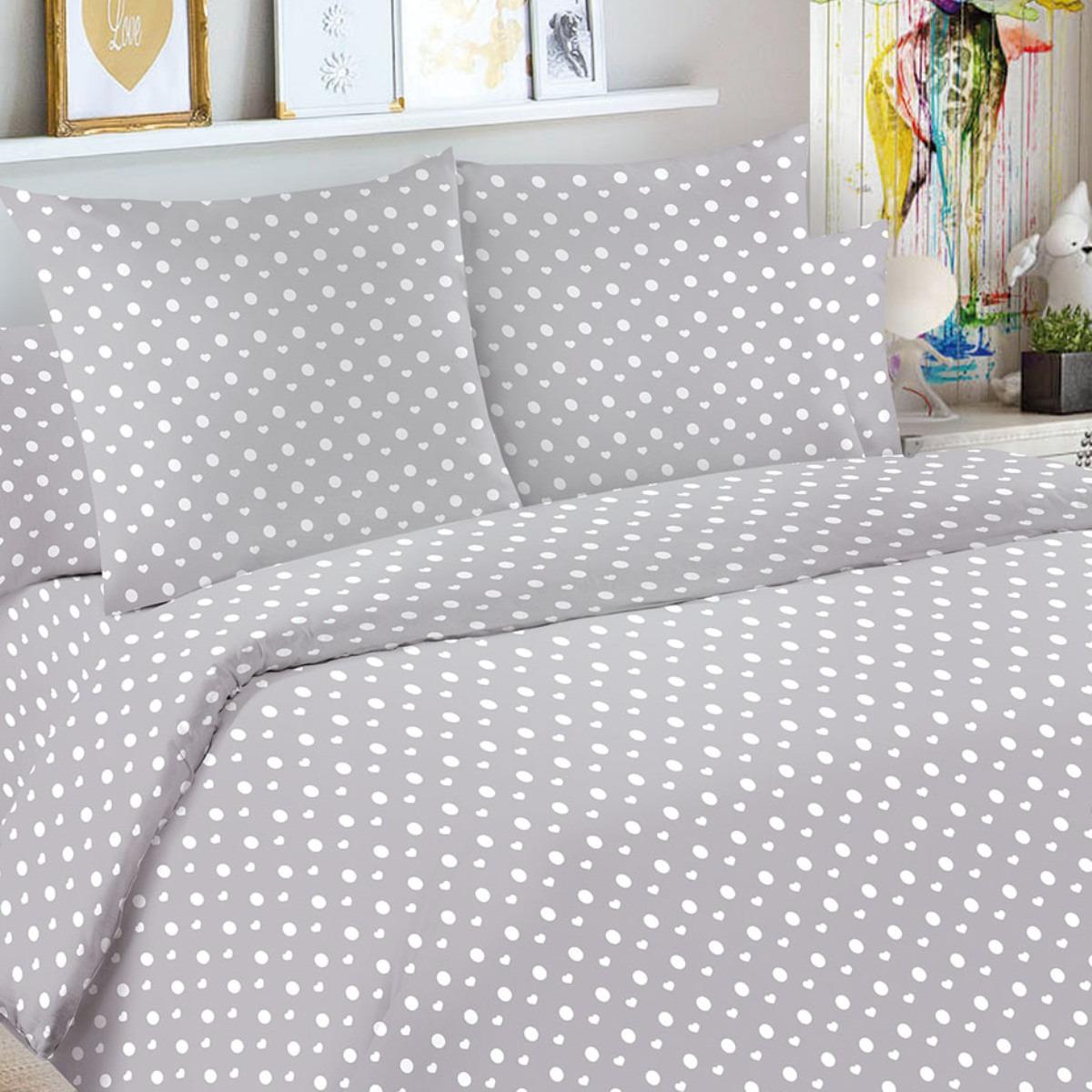 Детский комплект постельного белья Letto Горошек, goroshek_grey50, серый, 1,5 спальный, наволочка 50x70