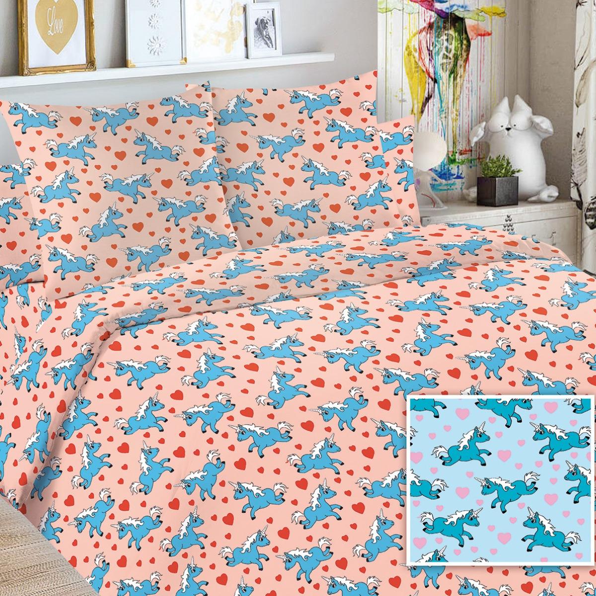 Детский комплект постельного белья Letto Единорог, edinorog50, розовый, 1,5 спальный, наволочка 50x70