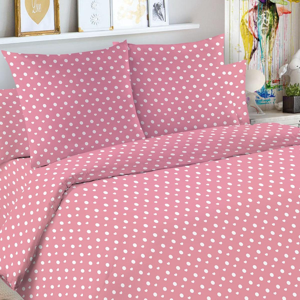 Детский комплект постельного белья Letto Горошек, goroshek_rose50, розовый, 1,5 спальный, наволочка 50x70
