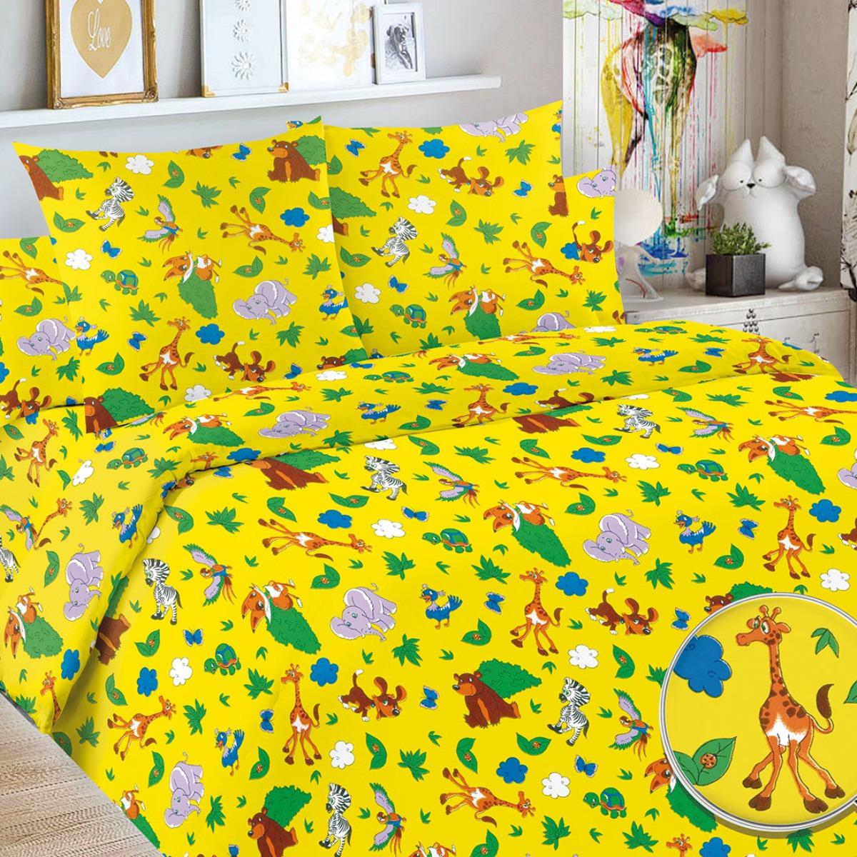 Детский комплект постельного белья Letto Сафари, safari50, желтый, 1,5 спальный, наволочка 50x70