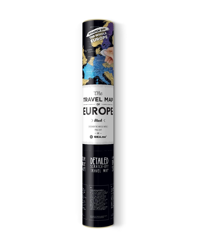 Постер 1DEA.me Скретч карта Европы Travel Map Black Europe, BE, черный, золотой скретч карта мира travel map black world