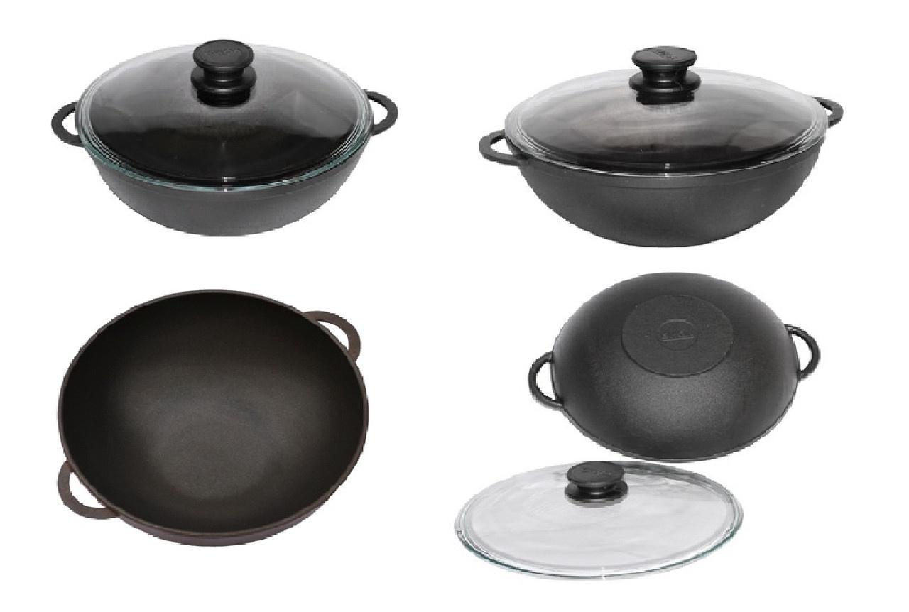 Чугунная сковорода-вок с двумя ручками + ст.крышка Биол D26 см.