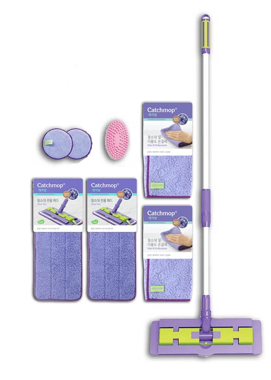 Комплект для уборки CATCHMOP Чистота легко (Duo-fect), 8 предметов, фиолетовый салфетка clean cloth уборки кухни пыли посуды желтый зеленый розовый