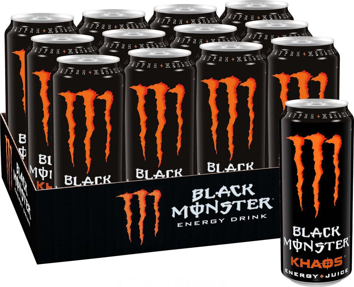 Black Monster Khaos энергетический напиток, 12 штук по 0,5 л monster clarity hd black 128665 00