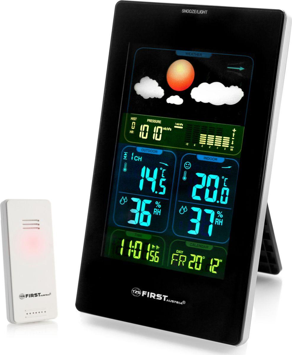 Погодная станция First 2460-3-BAFA-2460-3-BAФункции: измерение уличной и комнатной температуры, барометр, гигрометр, прогноз погоды, часы, будильник, календарь - Цветной LED-дисплей - Беспроводной датчик 433,92 МГц - Термометр: диапазон измерения температуры 0°-50°C (комнатной), -20°- +60°C (внешней) - Выбор отображения температуры °C/°F- Барометр: графическое представление атмосферного давления- Гигрометр: диапазон измерений влажности воздуха 20%-95%- Отображение минимальной и максимальной влажности и температуры воздуха- Функция прогноза погоды: солнечно, небольшая облачность, облачно, дождь и гроза- Радиус действия датчика до 60 м- Отображение времени, даты, дня недели- Выбор формата времени 12/24 ч.- Непрерывный календарь до 2099 г.- Двойной будильник- Функция автоматического повтора сигнала будильника- Электропитание: основной блок - батареи 2хAA/адаптер DC 4,5 В 0.2 A, беспроводной датчик - батареи 2xAAA - Размер основного блока: 108х185х29 мм - Размер датчика: 92х40х23 мм