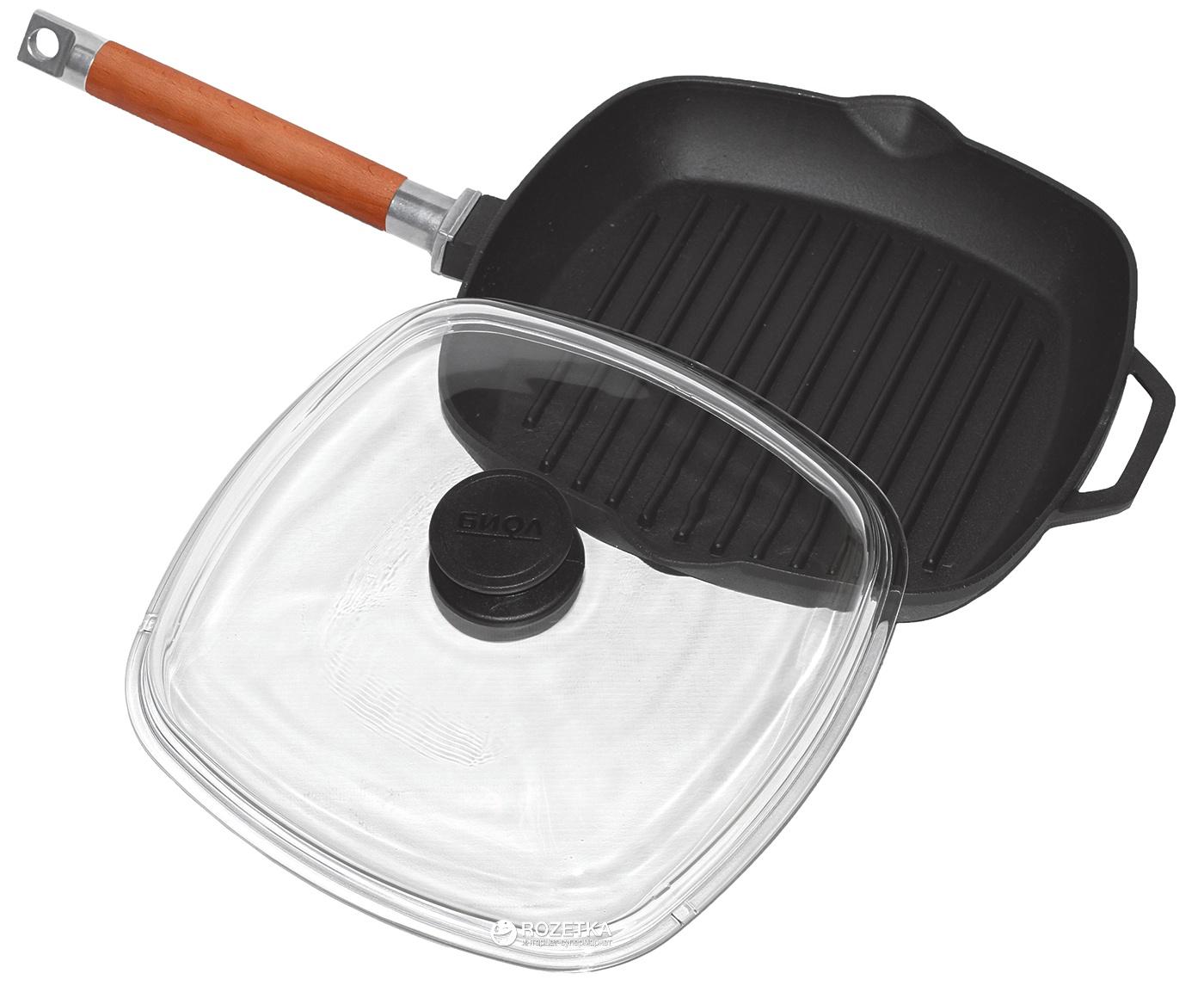Чугунная сковорода гриль+съёмная ручка, ст. крышка Биол 26 см.
