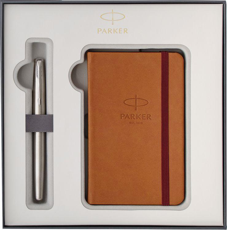 Ручка шариковая Parker Sonnet Stainless Steel CT + записная книжка, 272503, серый металлик набор подарочный ручка перьевая и блокнот parker sonnet stainless steel ct